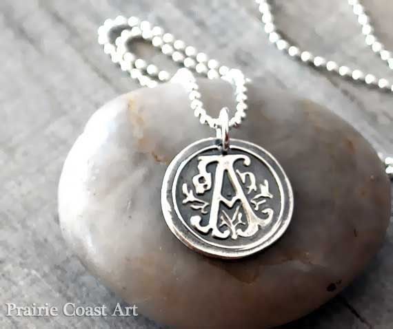 Personalized wax seal initial necklace custom initial description monogram silver wax seal initial necklace aloadofball