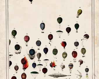 "Hot Air Balloon ""Up and Away"" Steampunk Victorian Antique Print  - Striped Circus Art Print - Whimsical Fantasy Nursery Decor"