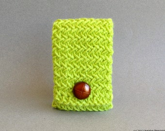 Knit Phone Case in Lime Green, iPhone Case, Android Phone Case, iPhone Cover, iPhone Sleeve, Android Case, Handmade Phone Case