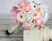 Silk Bride Bouquet Ranunculus Peonies Daisies Rustic Chic Wedding (item F10144)