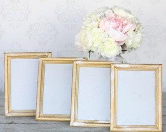 Rustic Gold Wedding Frames 5x7 Shabby Decor SET of 4