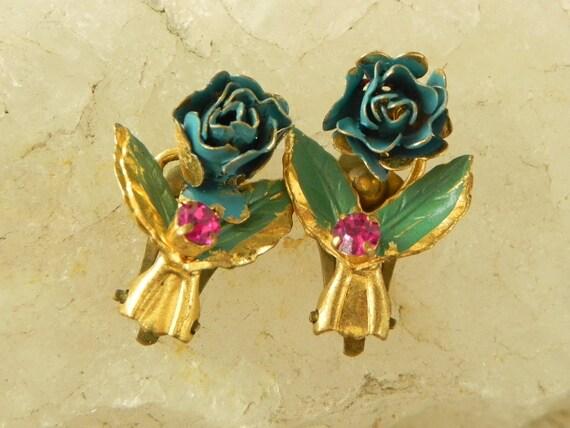 Austrian Enamel Blue Rose Earrings