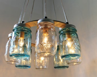 Mason Jar Chandelier, Beach House Mason Jar Lighting Fixture, Blue and Clear Jars, Hanging Pendant Light, BootsNGus Lighting, Bulbs Included