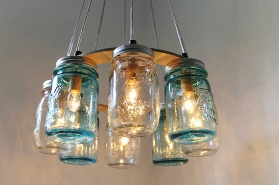Mason jar chandelier beach house mason jar lighting fixture like this item mozeypictures Image collections