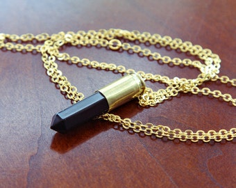 Natural Black Agate Crystal Bullet Necklace - Natural Raw Stone Point Drop Spike Bullet Case with Bronze Gold Plated Fittings