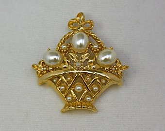 Vintage 60s Basket Brooch Gold Basket of Pearl Flowers