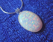 White opal pendant necklace sterling silver october birthstone