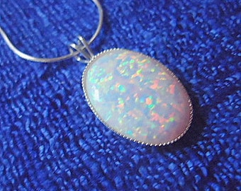 White opal pendant necklace sterling silver october birthstone valentines day gift for her