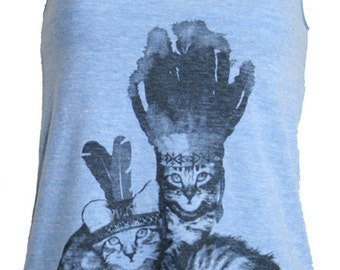 Native Kitty Cats Tank Top American Apparel Athletic Blue   XS S M or L