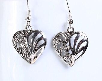 Antique silver tone heart drop dangle earrings (560) - Flat rate shipping