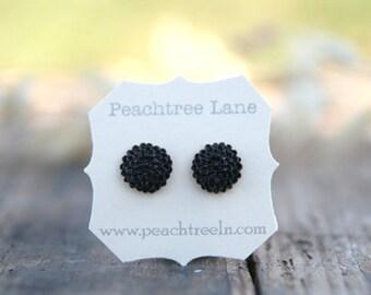 Black Chrysanthemum Flower Earrings // Bridesmaid Gifts // Rustic Vintage Wedding // Maid of Honor Gifts