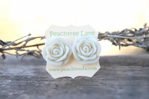 Large Cream Ivory Rose Flower Post Earrings // Bridesmaid Gifts // Vintage Wedding