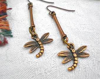Earrings Copper Dragonfly Antiqued Dangle