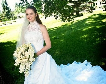 Lace Halter Layered Organza Wedding Dress | Lace Wedding Dress