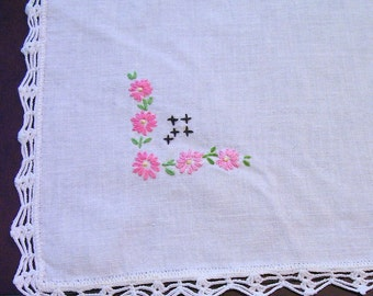 Vintage HAND EMBROIDERED Table Cloth with Hand CROCHET Edging