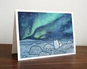 Northern Lights Card Arctic Fox Christmas Holiday