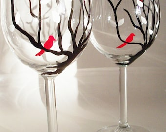 Dark branches with white leaves and red birds, hand painted wine glasses, woodland wine glasses, tree glasses, set of 2