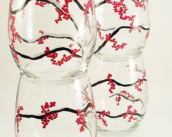 Red winter berries , hand painted wine glasses, stemless wine glasses, painted glassware with red berries, set of 4