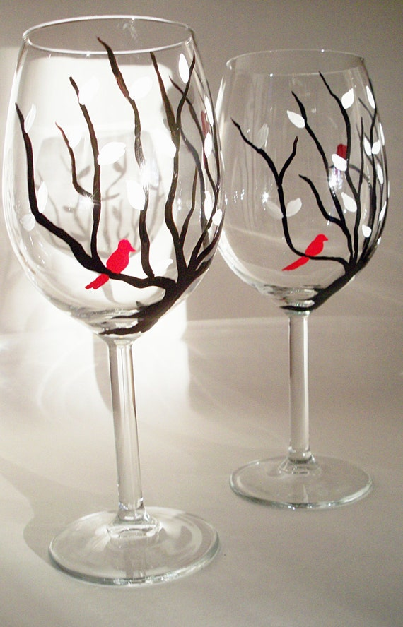 Dark branches with white leaves and red birds - hand painted wine glasses - set of 2
