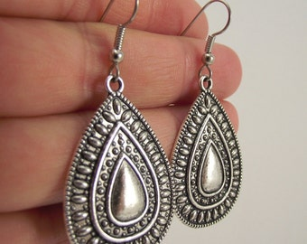 Decorative Antiqued Silver Teardrop Earrings, Silver Earrings, Gift for Her, Hostess Gift, Graduation, Wedding, Gift under 25