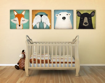 4 Native Vermont  12x12x1.5 Stretched CANVAS Baby Nursery wall art signed Fox, Polar Bear, Black Bear, Walrus by Ryan Fowler