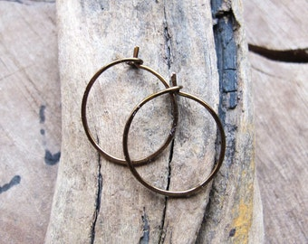 Bronze Hoop Earrings 15mm - Small Hoops - Colored Ear Wires - 22 gauge Colored Hoops / Medium Hoops / Handmade Hoops / Everyday Earrings
