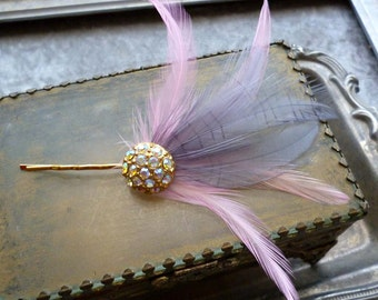 Pink Feather Fascinator -  Feather Hair Pin - Bridal Rhinestone Hair Pin - Crystal Wedding Hair Clip - Derby - Pink Grey Fascinator