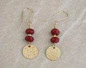 Ruby stone earrings, coin charm, red earrings, gold jewelry, Gifts for under 30, dangle earrings, red stone earrings