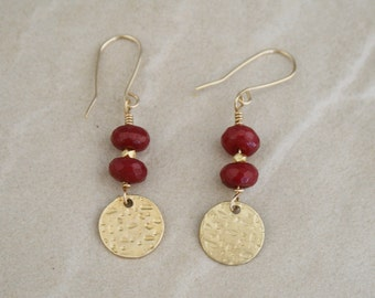 Ruby stone earrings, coin charm, red earrings, gold jewelry, Gifts for under 30, dangle earrings, red stone earrings, gifts for her, ethnic