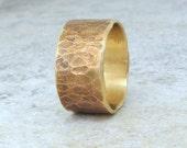 Brass Wedding Band Distressed Wedding Ring Rustic Wedding Bands Unique Wedding Rings Wide Wedding Band Hammered Wedding Ring- Relic Artifact