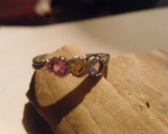 Sterling Silver Ring Three Stone Pink Yellow Blue Size 8