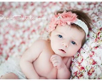Baby girl Headband, Shabby Chic, Rose trim headband,Vintage inspired,  Newborn Headband, Infant Headband,lace Headband, Photo Prop