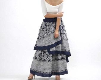 African print skirt, maxi skirt, layered skirt, floral skirt, fall skirt, full skirt, elastic waist skirt, ethic skirt, skirt for women(307)