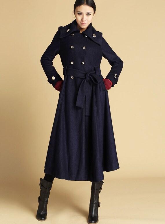 Blue Coat,  Long coat, long wool coat, double breasted coat, military coat, Winter Coat, winter coat women, shawl collar, custom made (475)