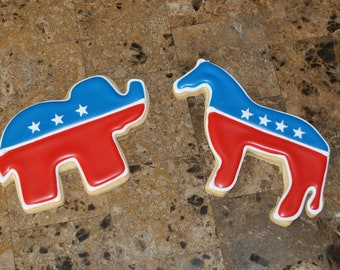 Political Republican Elephant Democrat Donkey cookies
