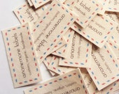 37 airmail brand labels, iron on or sew on custom fabric tags, 100% organic cotton