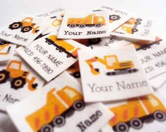 75 Kid's Clothes Labels, organic iron on name tags with trucks