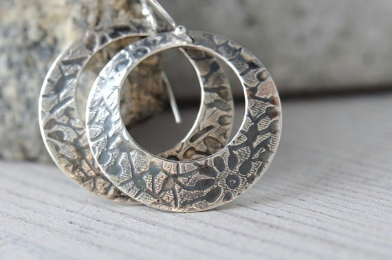 Sterling silver hoop earrings, textured with antique finish, one inch
