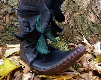 Elf Wrap Moccasin Black Hand Stitched Thick Bullhide Leather Upper With a Soft Bullhide Sole / Woodland Faerie Renaissance Shoes LARP