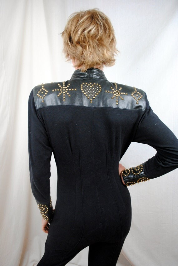 Vintage Studded Bedazzled and Leather Black Spandex Stirrup Jumpsuit