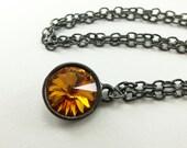 November Birthstone Necklace Citrine Necklace November Birthstone Jewelry Crystal Rivoli Gunmetal