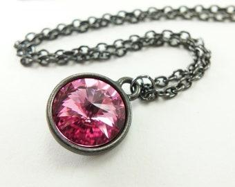 Pink Necklace Pink Jewelry Dark Silver Necklace Crystal Rivoli