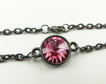 Rose Pink Gunmetal Bracelet Rivoli Crystal Jewelry Dark Silver Circle Chain