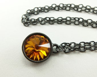 November Birthstone Necklace Citrine Necklace November Birthstone Jewelry Crystal Rivoli Gunmetal