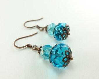 Blue Beaded Earrings Aqua Blue Earrings Antiqued Copper Dangles