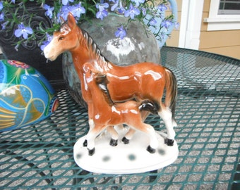Mare and Foal Figurine, Vintage