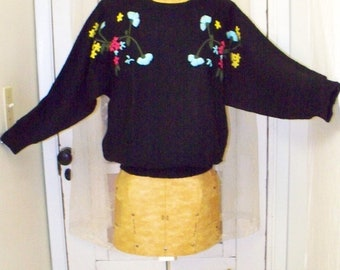 vintage hand-embroidered floral boho acrylic  sweater