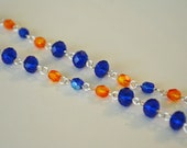 Florida Gator inspired necklace orange and blue hand beaded with glass beads