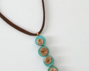 Boho spiral boho pendant five spiral pendant mint blue pendant turquoise gemstone casual pendant copper spiral made in Israel