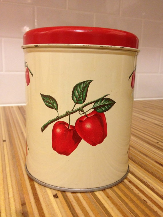 ON SALE Red Apple Tin Canister by Decoware, country classic design, kitchen, metal, farmhouse